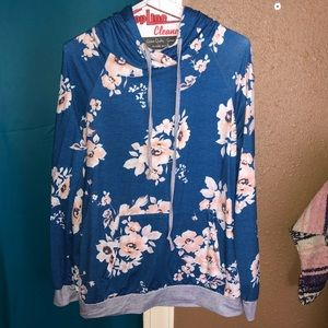 Floral Pull Over Hoodie Shirt